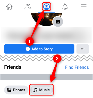 "Tap the Profile icon, and then tap ""Music."""
