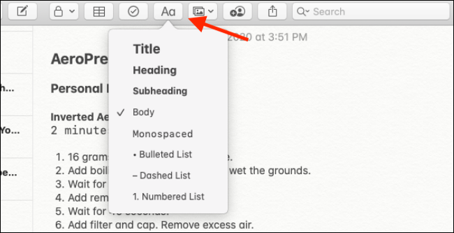 Formatting options in Notes app for Mac
