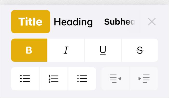Formatting toolbar in Notes app