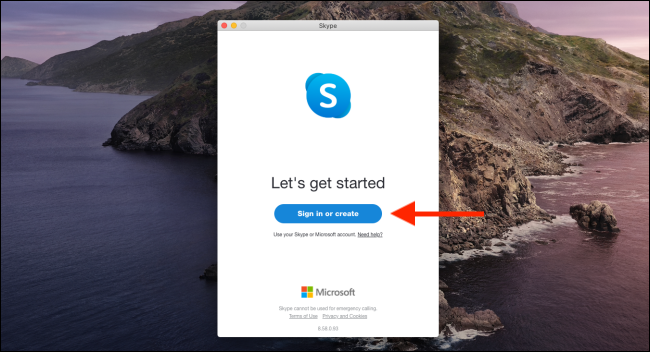 "Click ""Sign In or Create"" to log in to Skype."