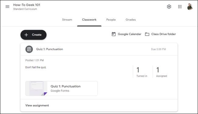 "The ""Classwork"" tab in ""Google Classroom."""