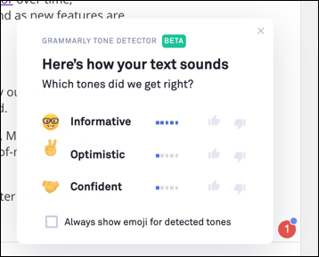 The Grammarly tone suggestion tool on the web