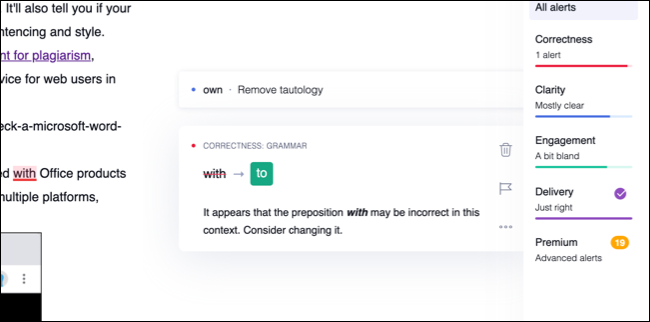 A Grammarly word suggestion with description