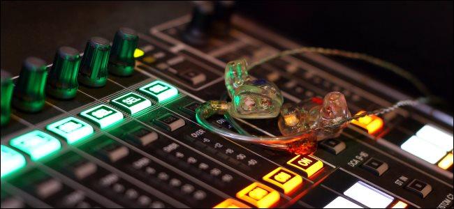 Custom in-ear monitors on a digital mixing console.
