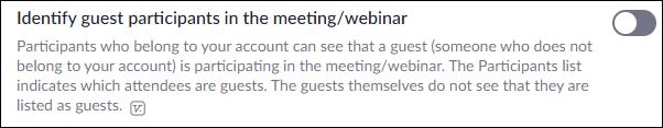 """La opción """"Identificar participantes invitados en la reunión / seminario web""""."""