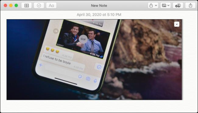 Imagem do iPhone colada no Apple Notes no Mac