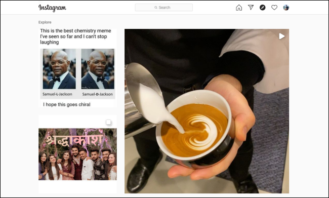 """The Instagram """"Explore"""" page on a desktop browser."""