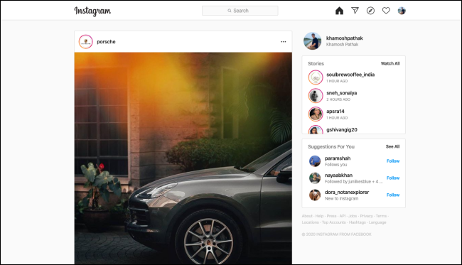 An Instagram feed on a desktop browser.