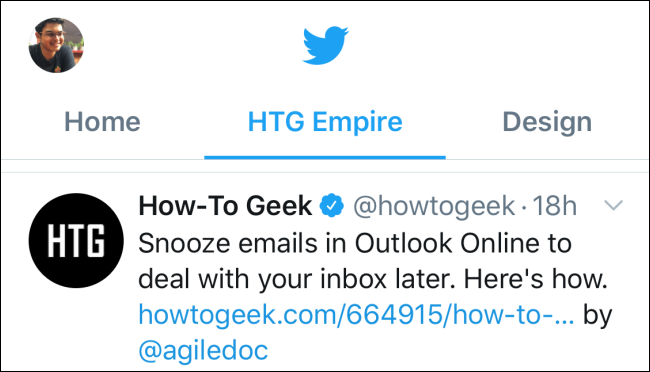 Lists as tabs on top of Twitter timeline