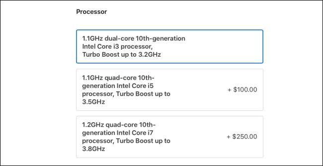 The MacBook Air 2020 Processor options.