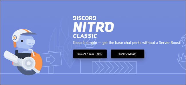 The Discord Nitro Classic Subscription page.