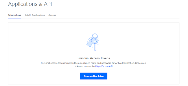 "The ""Tokens/Keys"" tab in the ""Applications and API"" menu on DigitalOcean."