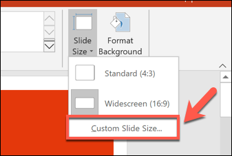 To set a custom PowerPoint slide size, press Design > Slide Size > Custom Slide Size.