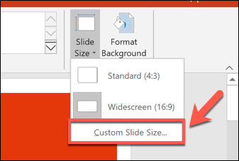 To set a custom PowerPoint slide size, press Design > Slide Size > Custom Slide Size.