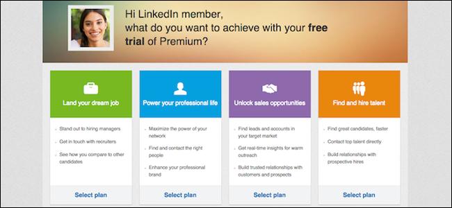 LinkedIn Free Trials Tiers