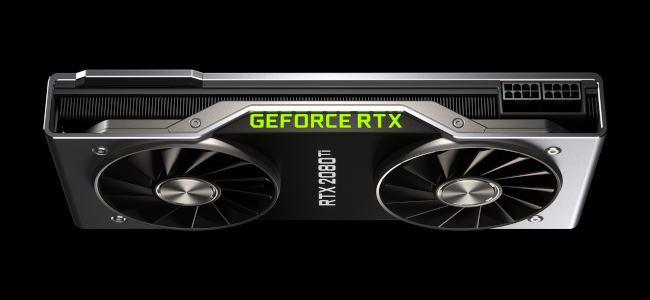 An overhead view of the RTX 2080 Ti graphics card on a black background.