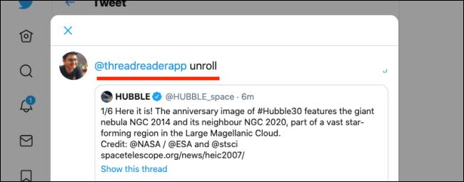 Retweetar com comentário e adicionar aplicativo Thread Reader