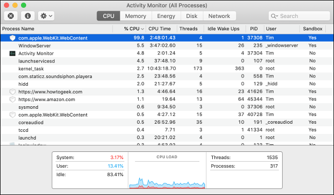 Kill Processes Using Too Much CPU With Activity Monitor