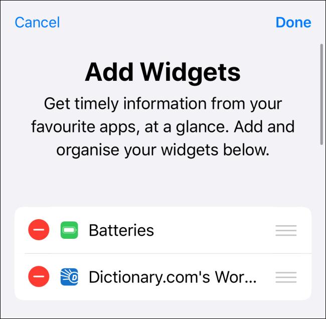 See enabled widgets