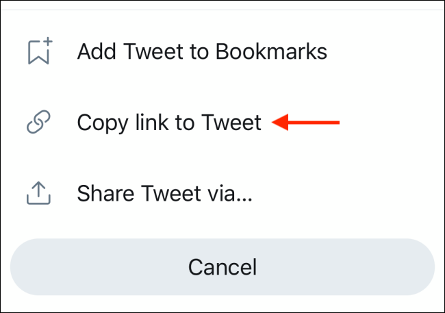 Select Copy Link to Tweet option in Twitter sharing menu
