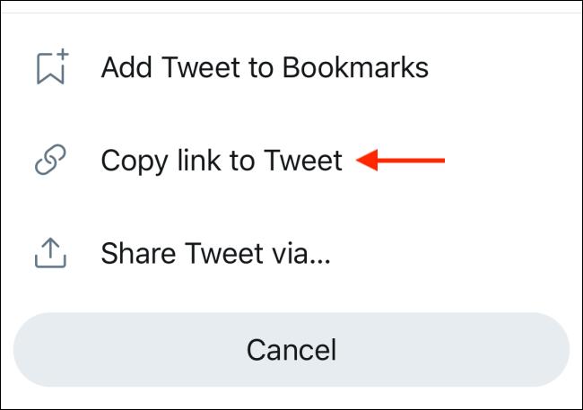 Selecione a opção Copiar link para tweet no menu de compartilhamento do Twitter