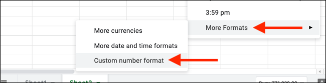 Select custom number formats