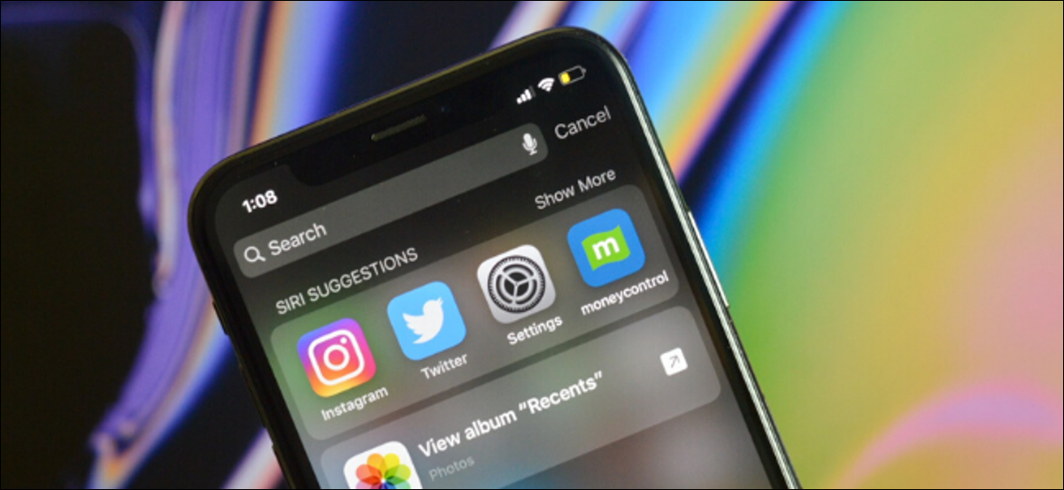 Showing Spotlight Search on iPhone