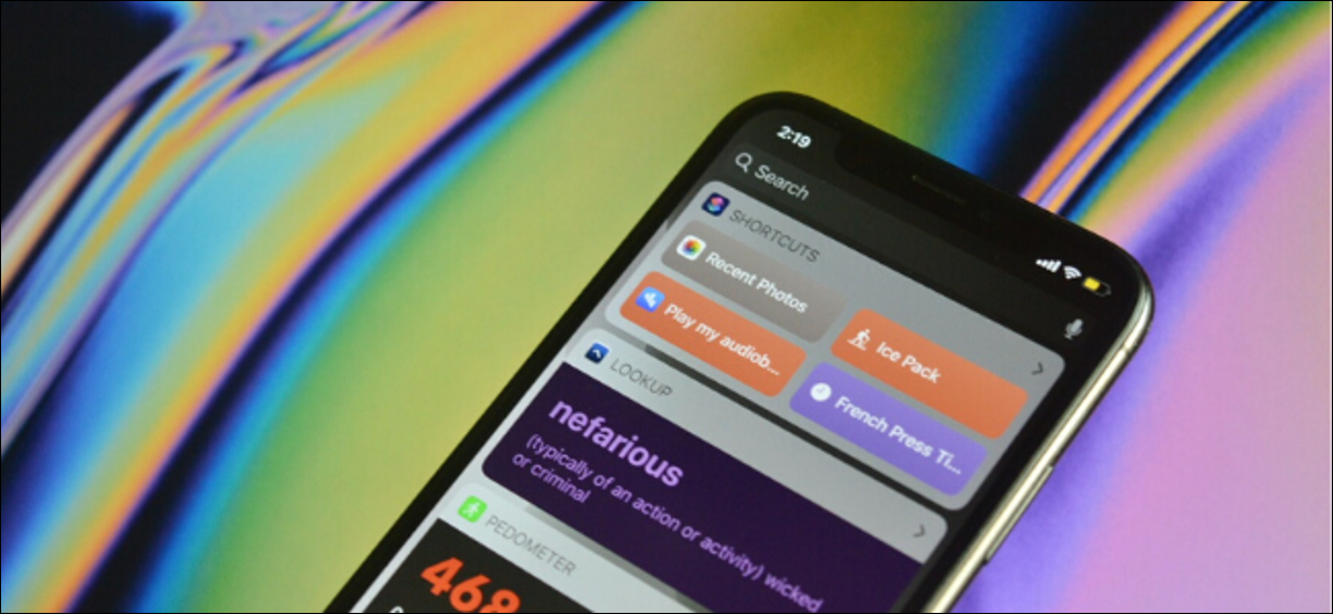 Showing widgets on iPhone