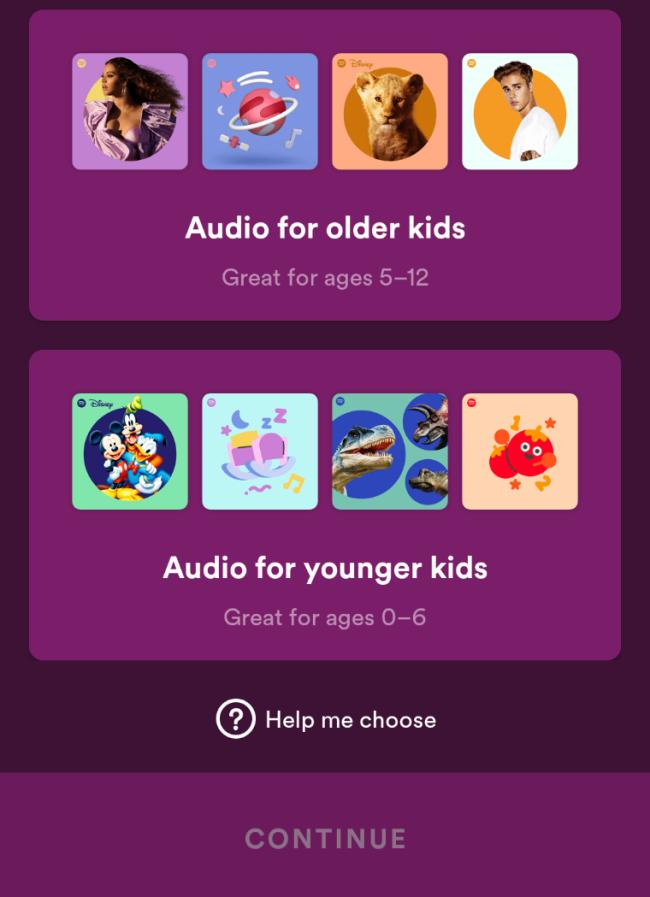Spotify Kids Choose Age