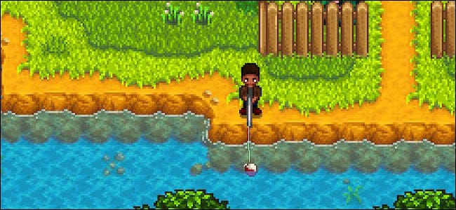 """A character fishing in """"Stardew Valley."""""""