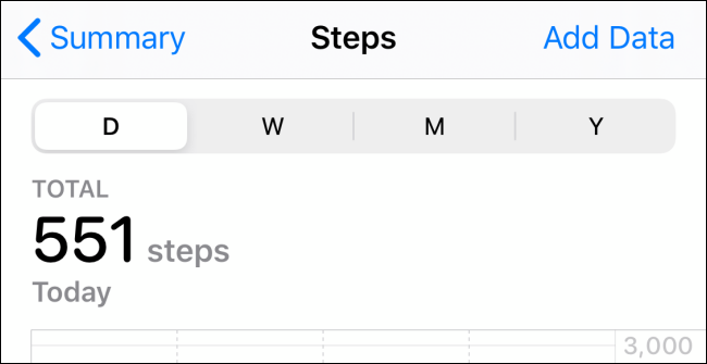 "The ""Steps"" section in the Health app."