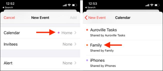 Switch calendars from the Calendar app