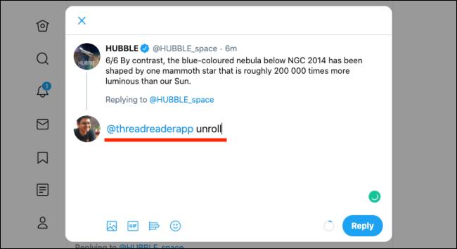 Tag Thread Reader App e use a palavra-chave Unroll