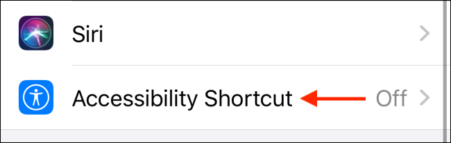 Tap on Accessibility Shortcut