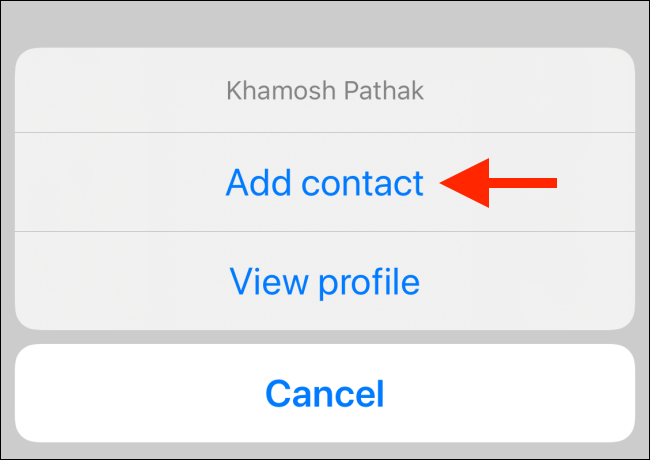 "Select ""Add Contact."""