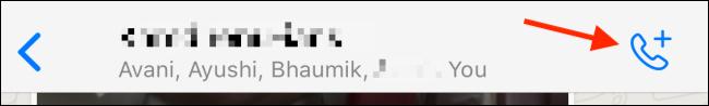 Toque el botón Llamar en un chat grupal en WhatsApp.