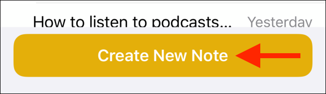 Tap on Create new note