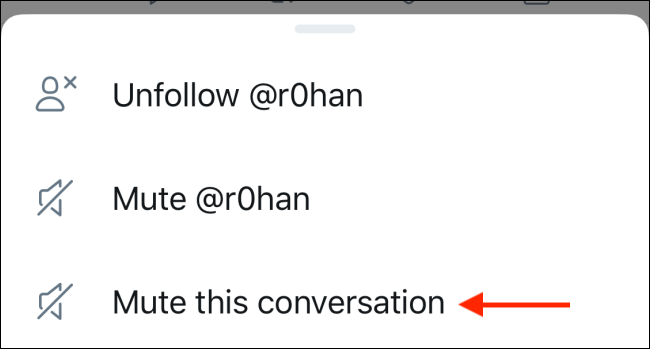"To mute tweets, click on ""Mute This Conversation."""