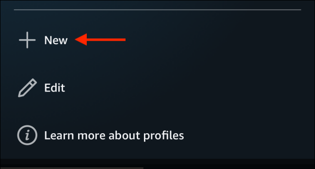 Tap on New to create a profile