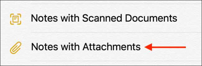 Tap on Notes with Attachments option