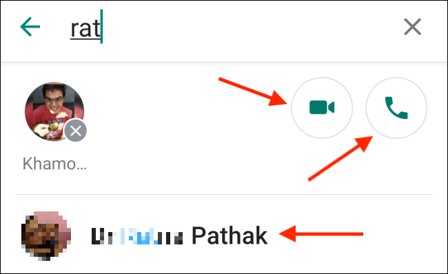 Toque el botón Teléfono o Video en la aplicación Whatsapp para Android.