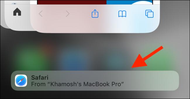 Tap on Safari handoff suggestion