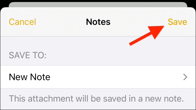 Tap on Save after choosing new note option