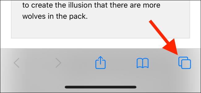 Tap on Tabs button in Safari
