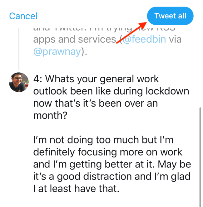 Tap on Tweet all to publish the twitter thread or tweetstorm