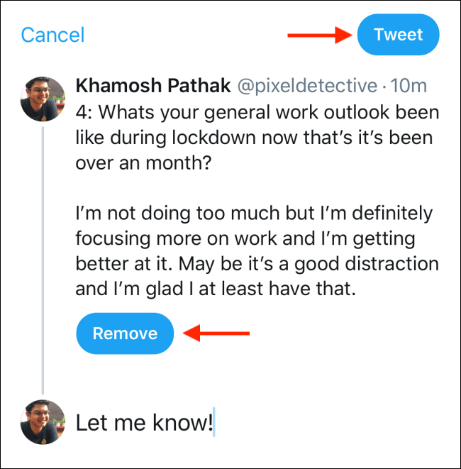 Tap on Tweet to add the additional tweet to the twitter thread