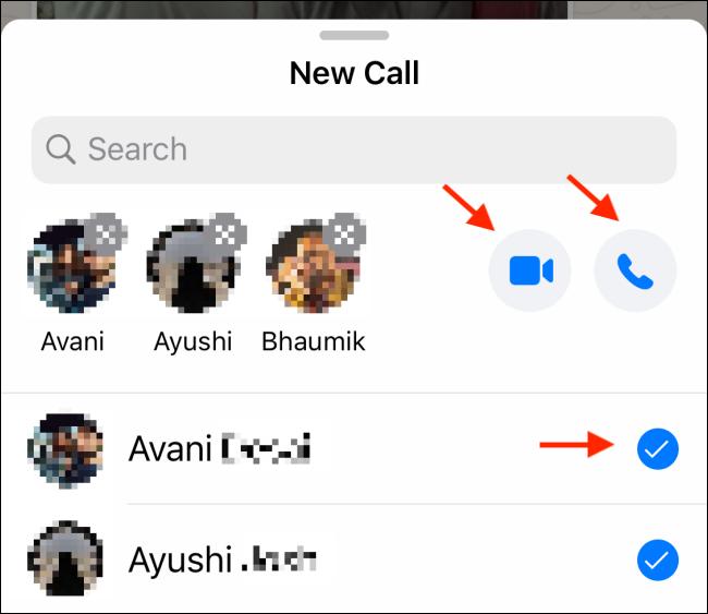 Toque el ícono de Video o Teléfono en un chat grupal de WhatsApp.