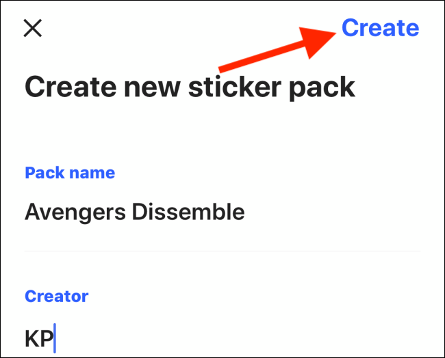 Tap on create to make a sticker pack