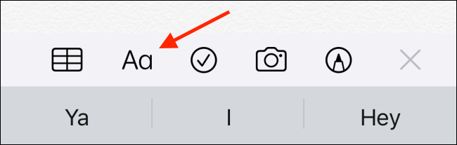 Tap on the Format button in Notes app
