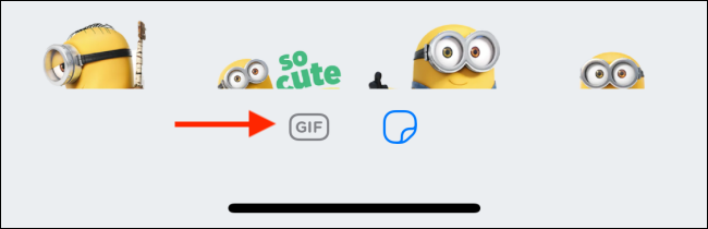 Tap on the GIF icon